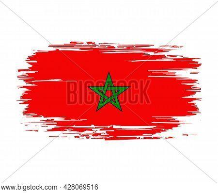 Moroccan Flag Brush Grunge Background. Vector Illustration.