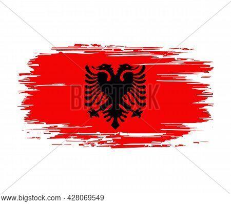 Albanian Flag Brush Grunge Background. Vector Illustration.