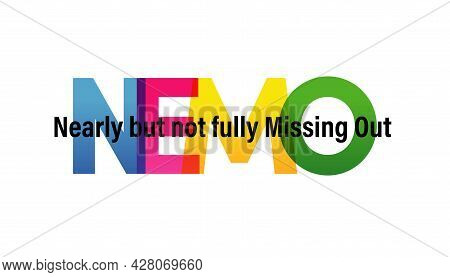Nemo Word Vector Illustration. Nearly But Not Fully Missing Out. Colored Rainbow Text. Vector Banner
