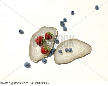 White Shimmer Pearl Coasters, Cup Holders With A Golden Edge, Ripe Red Strawberries And Blueberries