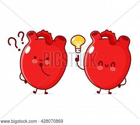 Cute Funny Human Heart Organ With Question Mark And Idea Lightbulb. Vector Line Doodle Cartoon Kawai