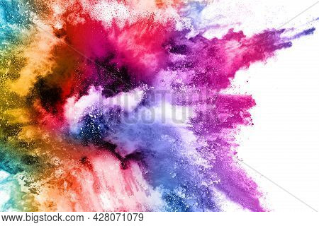 Abstract Powder Splatted Background. Colorful Powder Explosion On White Background. Colored Cloud. C