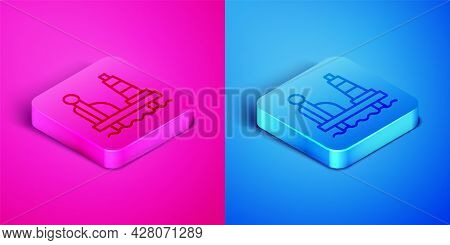 Isometric Line Oil Platform In The Sea Icon Isolated On Pink And Blue Background. Drilling Rig At Se