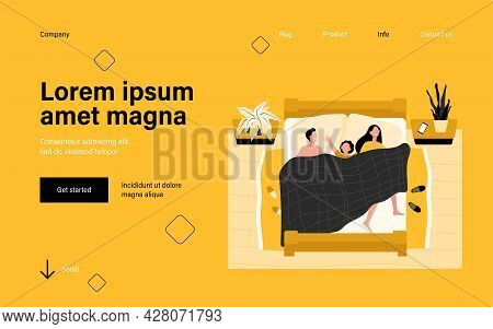 Happy Mom, Dad And Kid Sleeping Together Isolated Flat Vector Illustration. Cartoon Asleep People Ly
