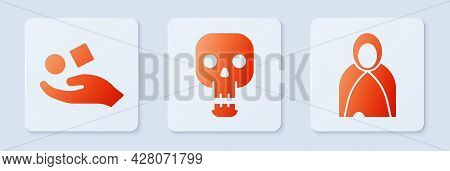Set Skull, Cube Levitating Above Hand And Mantle, Cloak, Cape. White Square Button. Vector