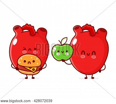 Cute Funny Human Heart Organ With Apple And Burger. Vector Flat Line Doodle Cartoon Kawaii Character