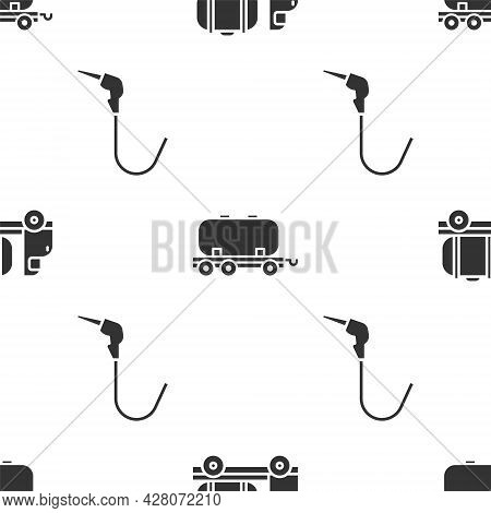 Set Tanker Truck, Oil Railway Cistern And Gasoline Pump Nozzle On Seamless Pattern. Vector