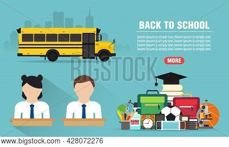 Back To School Concept Design Flat Banners Set. Welcome Back To School. School Icon. Safe School Edu