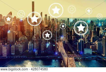 Rating Stars With The New York City Skyline Near Midtown