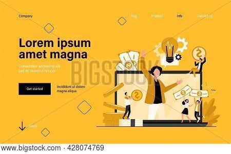 Tiny Entrepreneur Crowdfunding Startup Project Flat Vector Illustration. Cartoon Sponsor And Money D