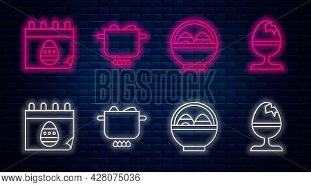 Set Line Egg In Hot Pot, Basket With Easter Eggs, Calendar With Easter Egg And Chicken Egg On A Stan