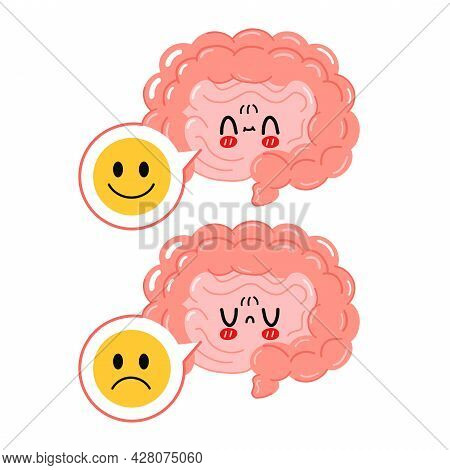Cute Funny Intestine Organ With Sad And Happy Face In Speech Bubble Character. Vector Hand Drawn Car