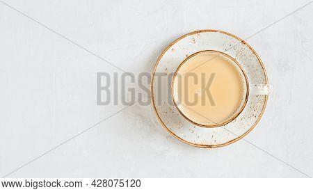 Latte Coffee. Cappuccino On A White Concrete Background. Indian Masala Chai Tea. Copy Space, Top Vie