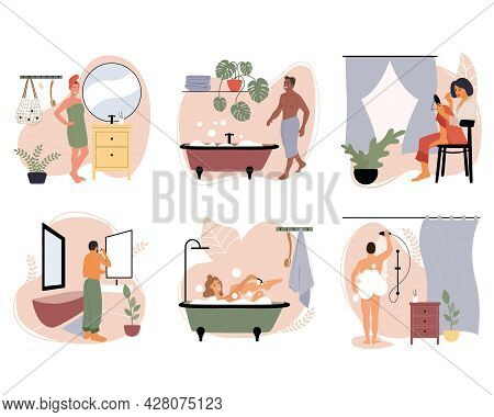 Set Of Vector Illustrations With People Doing Hygiene And Household Daily Routine In The Bathroom. S
