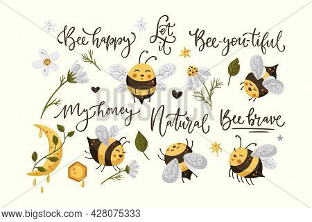 Cute Honey Bee Funny Illustration Set. Cartoon Vector Happy Summer Insect Character Collection With