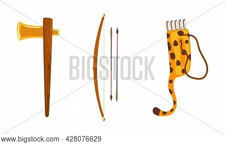 Maya Civilization Symbols Set, Ancient Weapon, Axe, Bow, Arrows And Quiver Cartoon Vector Illustrati