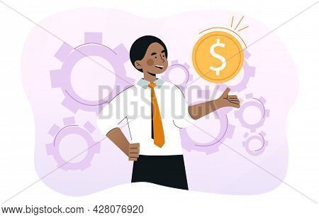 Young Smiling Businessman Is Holding Gold Coin. Profit, Money Management, Wages, Credit, Salary, Inc