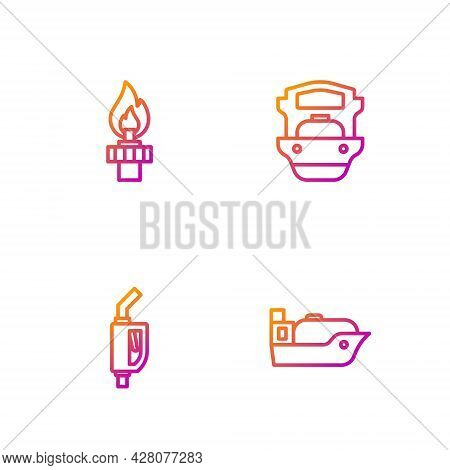 Set Line Oil Tanker Ship, Gasoline Pump Nozzle, Rig With Fire And . Gradient Color Icons. Vector
