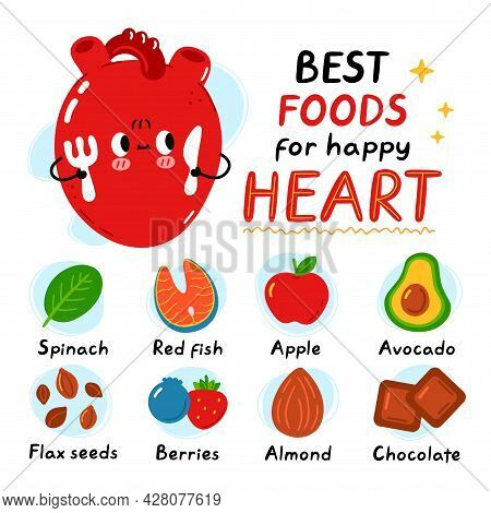 Cute Heart With Fork And Knife. Best Foods For Happy Healthy Heart Infographic. Vector Flat Doodle C