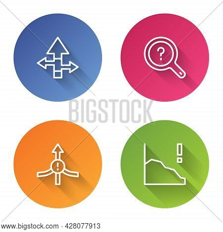 Set Line Arrow, Unknown Search, And Financial Growth Decrease. Color Circle Button. Vector
