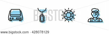 Set Line Diamond, Electronic Jewelry Scales, Pendant Necklace And Jeweler Man Icon. Vector