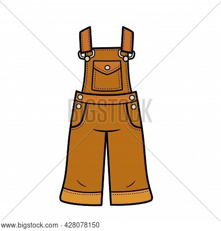 Summer Denim Overalls Just Below The Knee For Girls Color Variation For Coloring Page Isolated On Wh
