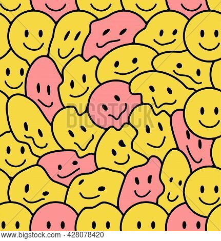 Funny Smile Faces Seamless Pattern. Vector Doodle Cartoon Kawaii Character Illustration Icon Design.