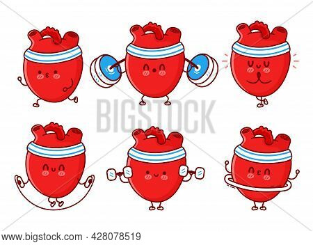 Cute Funny Human Heart Organ Make Gym, Training. Vector Flat Line Doodle Cartoon Kawaii Character Il