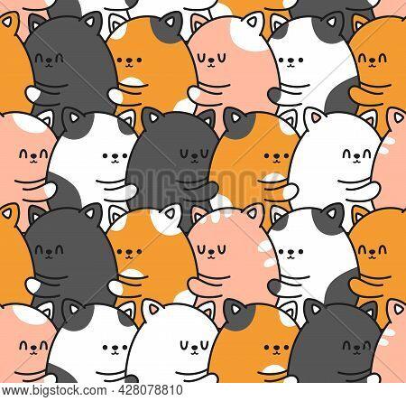 Cute Funny Smile Cats Kitties Hugs Seamless Pattern. Vector Doodle Cartoon Kawaii Character Illustra