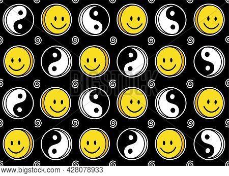 Funny Smile Cute Face And Yin Yang Seamless Pattern. Vector Doodle Cartoon Kawaii Character Illustra