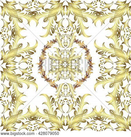 Vector Golden Seamless Pattern. Flat Hand Drawn Vintage Collection. Golden Pattern On White, Yellow
