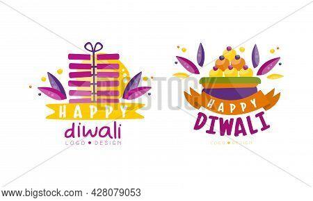 Happy Diwali Logo Design Set, Hindu Festival Celebration Bright Colorful Labels Vector Illustration