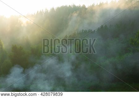 Coniferous Forest In The Mountains In The Smoke Of Forest Fires. Fog Spreads Through The Forest. Daw