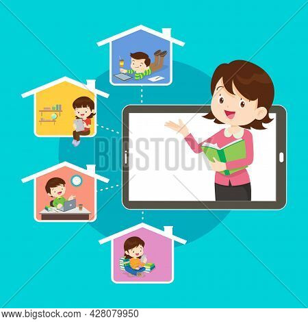 Online Learning Kids.online Teacher On Computer Monitor. Kids Studying At Home Via Internet.