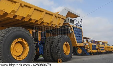 Big Yellow Mining Truck. Details Of The Construction Of A Mining Dump Truck.