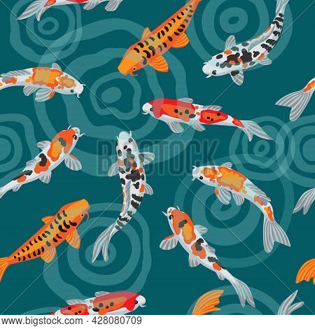 Illustration Of Koi Fish Japanese Carp. Seamless Vector Background. Colorful Goldfish Are Swimming I