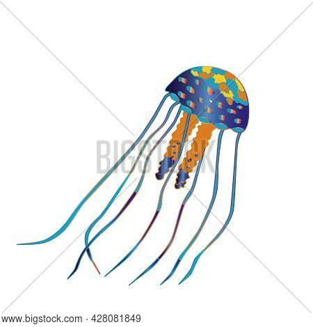 Rainbow Fantastic Jellyfish With Long Tentacles On A White Background. Vector Illustration Of Marine