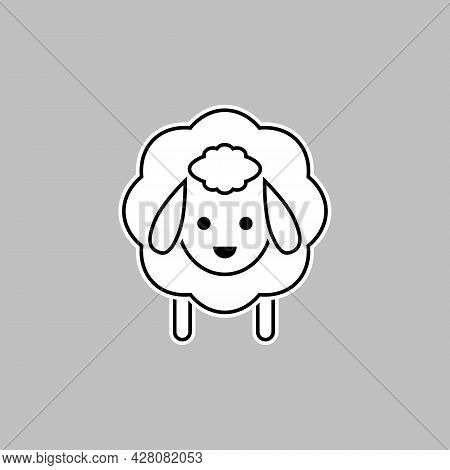 Sheep Icon. Vector Drawing. Lamb Linear Black And White Outline Illustration.