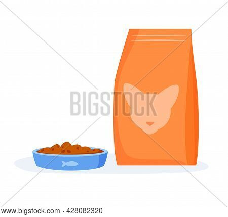 Cat Food In Bowl. Cat Kibble In Package Or Beg. Flat Style Vector