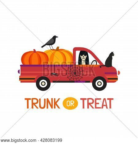 Fancy Halloween Trunk Or Treat Flat Vector Poster. Holiday Truck With Scary Ghost, Pumpkins, Black C