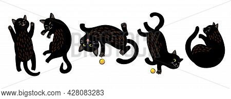 A Set Of Five Cute Painted Black Cats. The Cat Is Playing With A Yellow Ball, Sleeping, Lying Belly