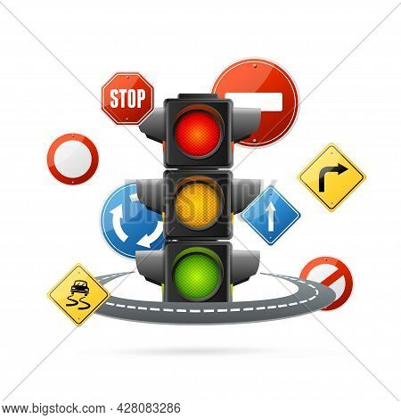 Realistic Detailed 3d Traffic Light Illuminated Concept. Vector