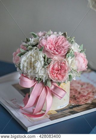 Beautiful Spring Bouquet In Round Ceramic Vase. Arrangement With Peonies Roses. Decorative Flowers I