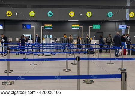 Thessaloniki, Greece - April 23, 2021. New Terminal of Thessaloniki Makedonia International Airport