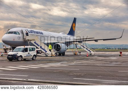 Plane Of The German Company Lufthansa Parked In Thessaloniki International Airport