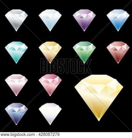 Set Of Realistic Luminous Gems Of Different Colors, Side View. Ruby, Diamond, Sapphire, Emerald, Blu