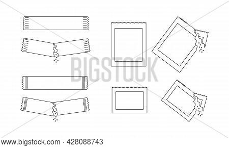 Different Outline Sachets With Sugar, Salt Or Pepper. Set Of Packets With Soluble Powder Whole And P