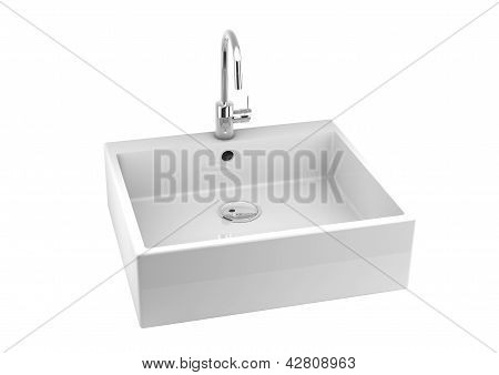 Kitchen Sink On White