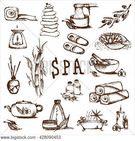Illustrations Set For Spa Salon. Candles, Oils, Depilation. Beauty Therapy And Spa Relaxation For We