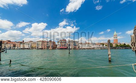 Venice, Italy - June 15, 2016 Sea View On Bacino San Marco, Grand Canals Waterfront And Campanile Of